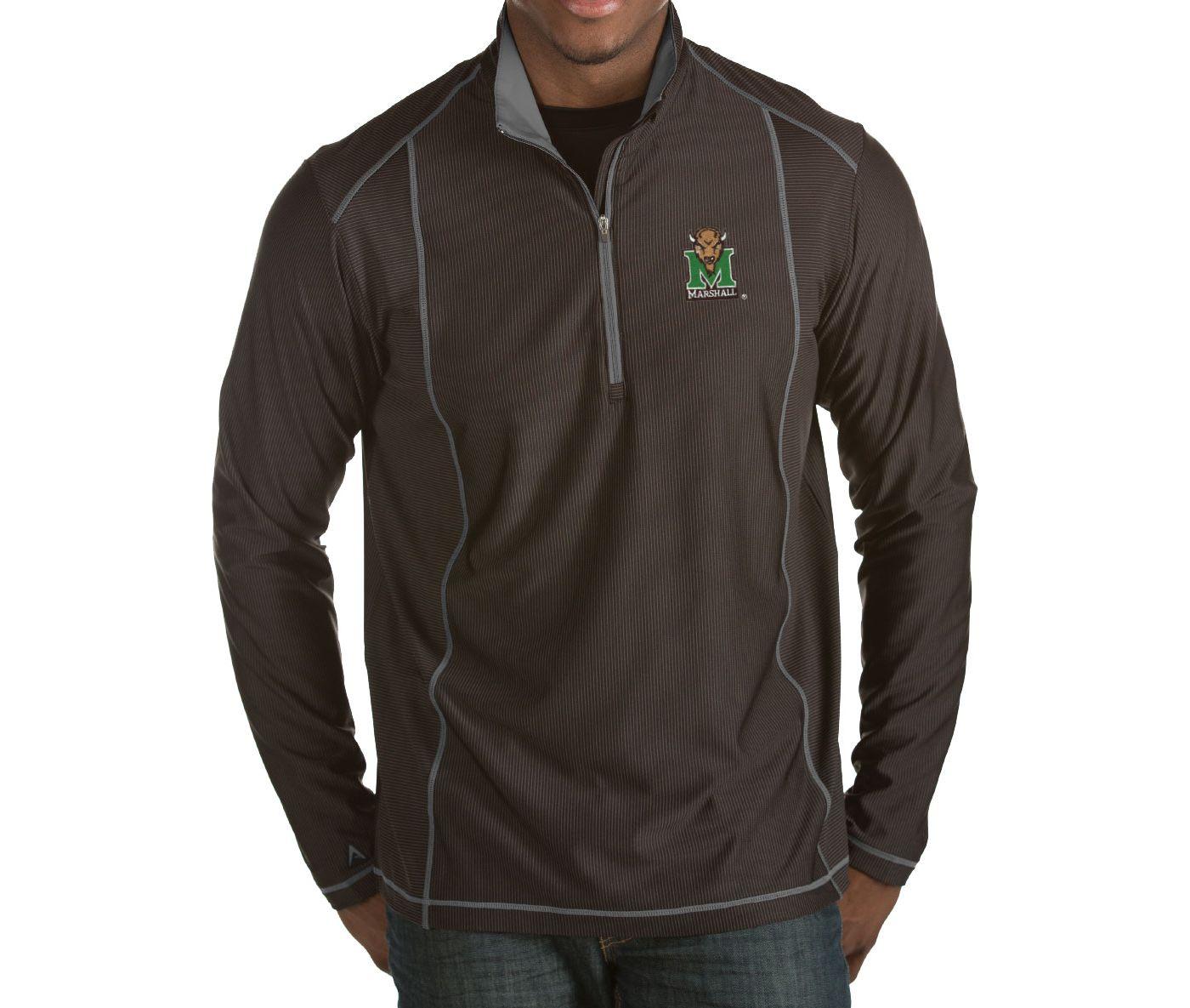 Antigua Men's Marshall Thundering Herd Black Tempo Half-Zip Pullover