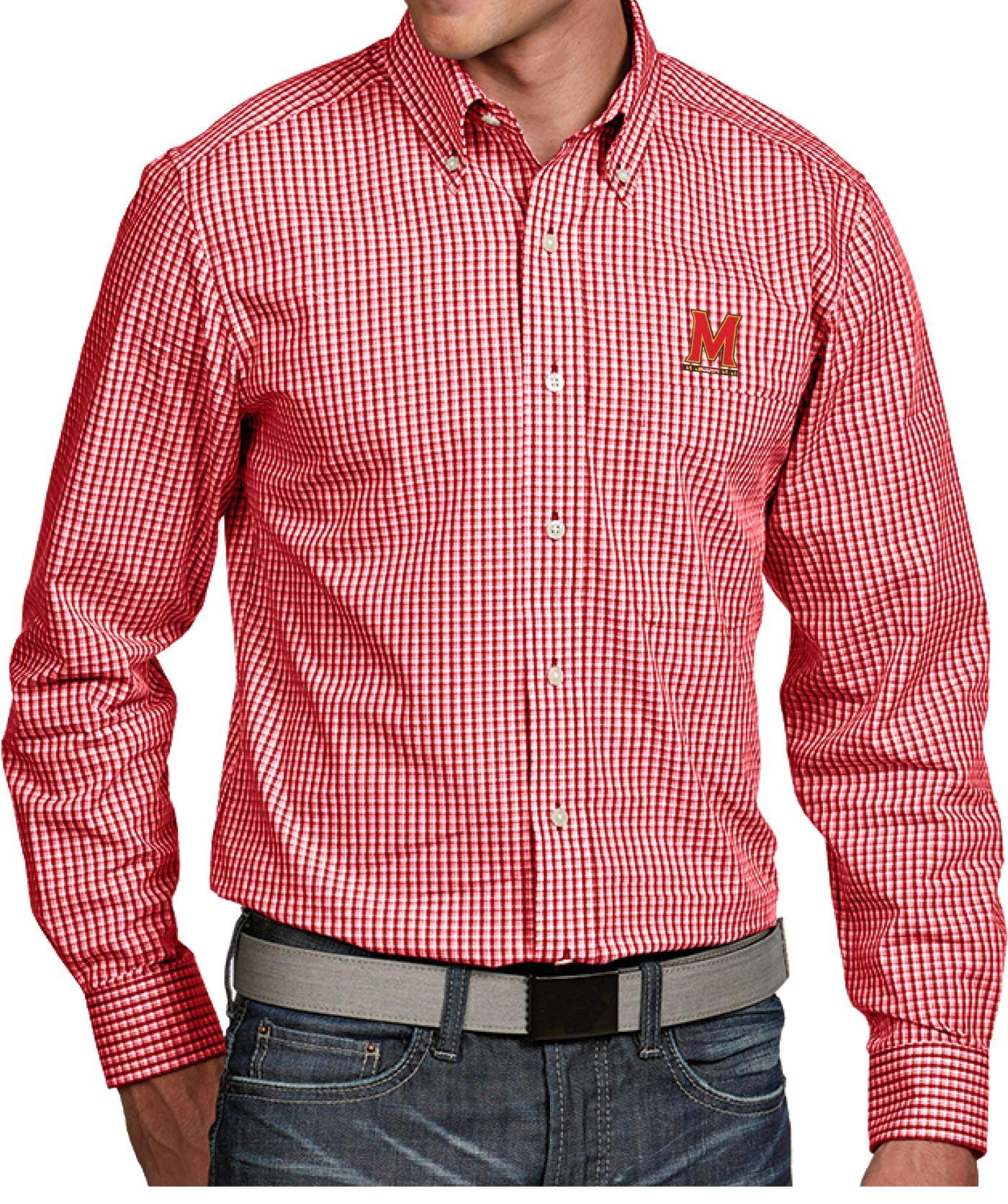 Antigua Men's Maryland Terrapins Red Associate Button Down Long Sleeve Shirt