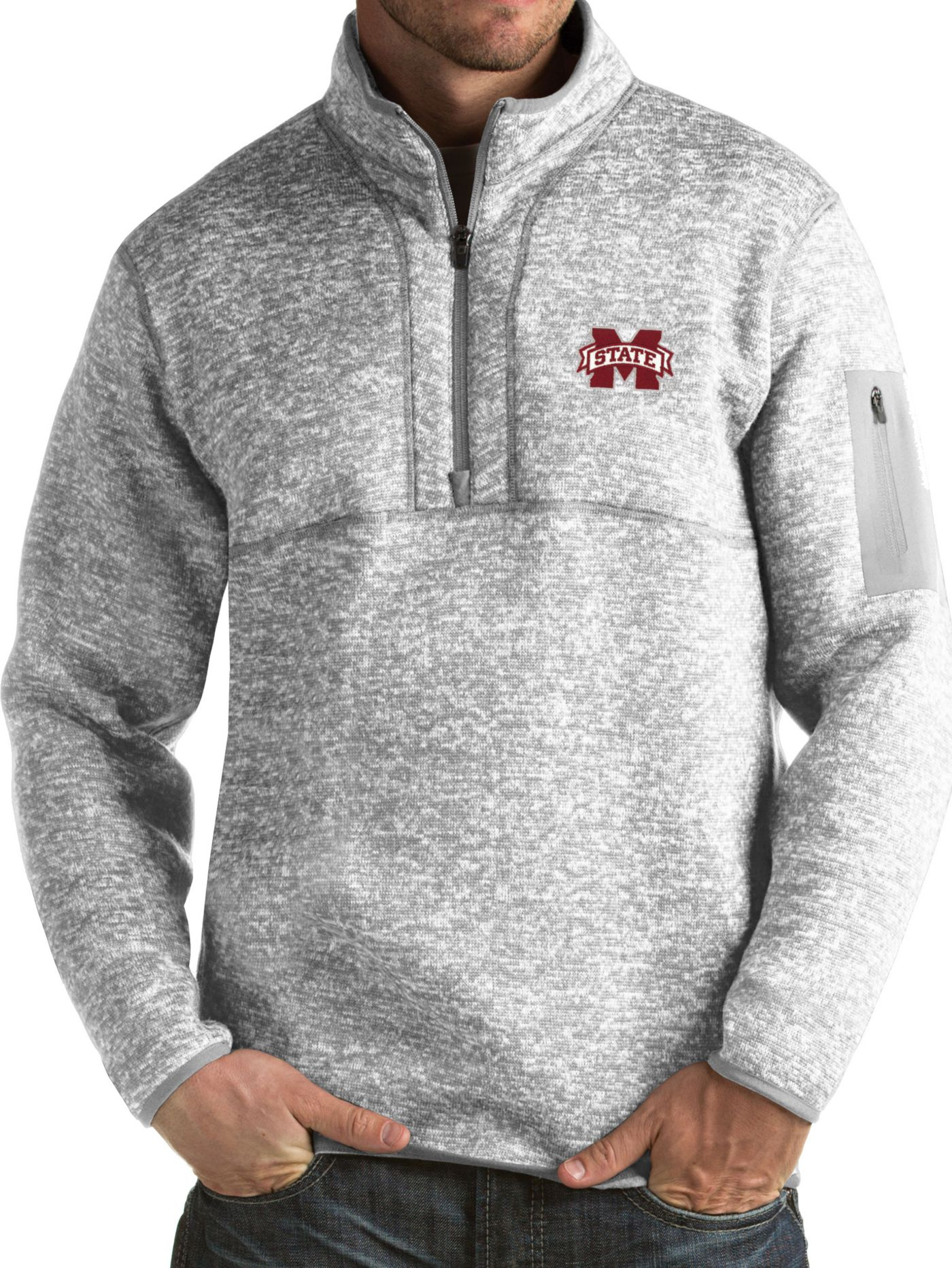 Antigua Men's Mississippi State Bulldogs Grey Fortune Pullover Jacket