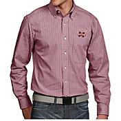 Antigua Men's Mississippi State Bulldogs Maroon Associate Button Down Long Sleeve Shirt