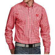Antigua Men's Nebraska Cornhuskers Scarlet Associate Button Down Long Sleeve Shirt