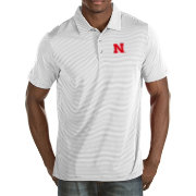 Antigua Men's Nebraska Cornhuskers White Quest Polo