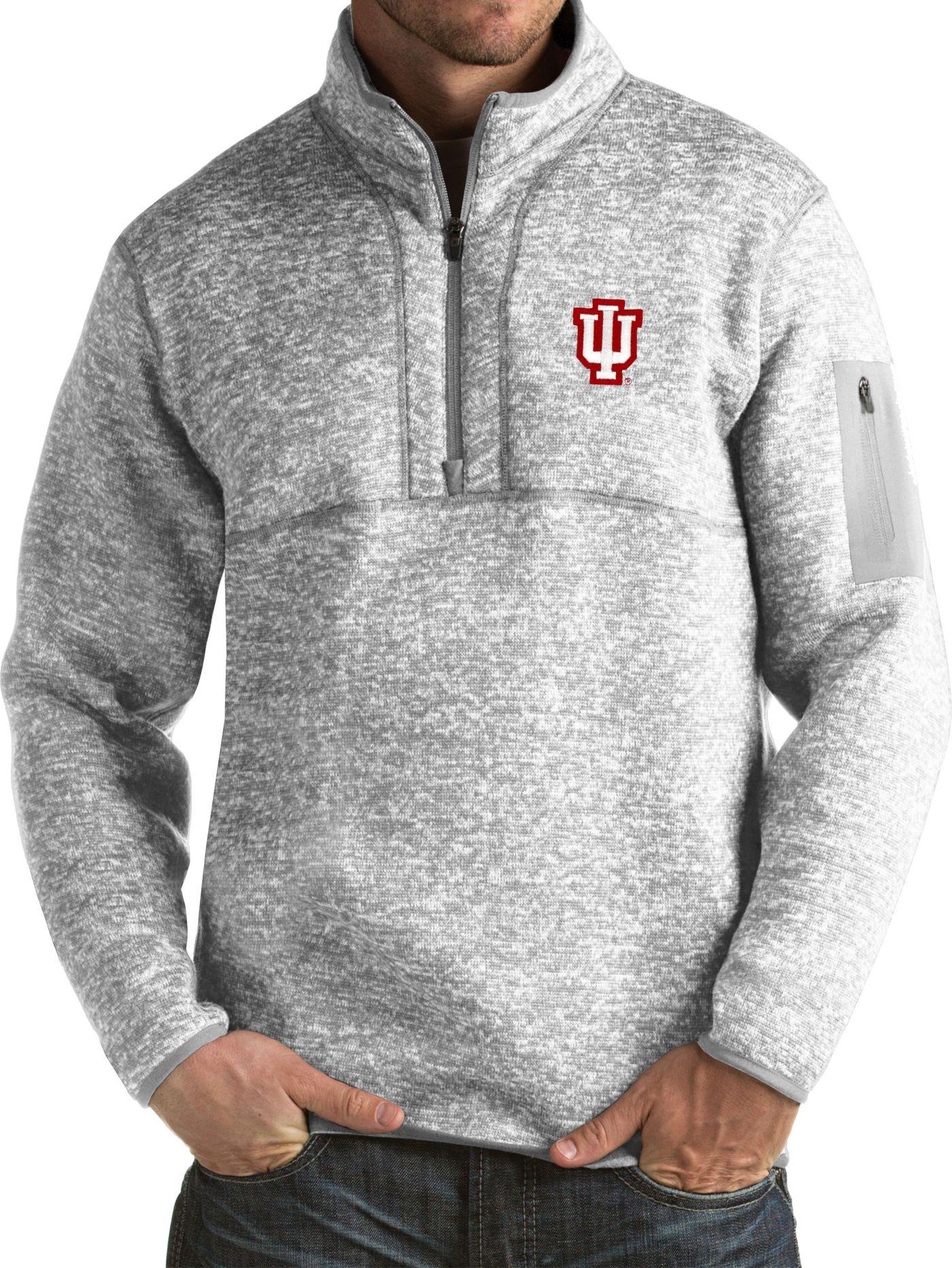 Antigua Men's Indiana Hoosiers Grey Fortune Pullover Jacket
