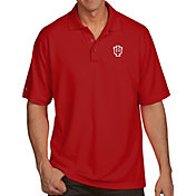 Antigua Men's Indiana Hoosiers Crimson Pique Xtra-Lite Polo