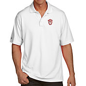 Antigua Men's Indiana Hoosiers White Pique Xtra-Lite Polo