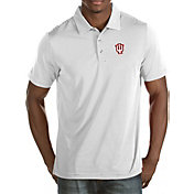 Antigua Men's Indiana Hoosiers White Quest Polo