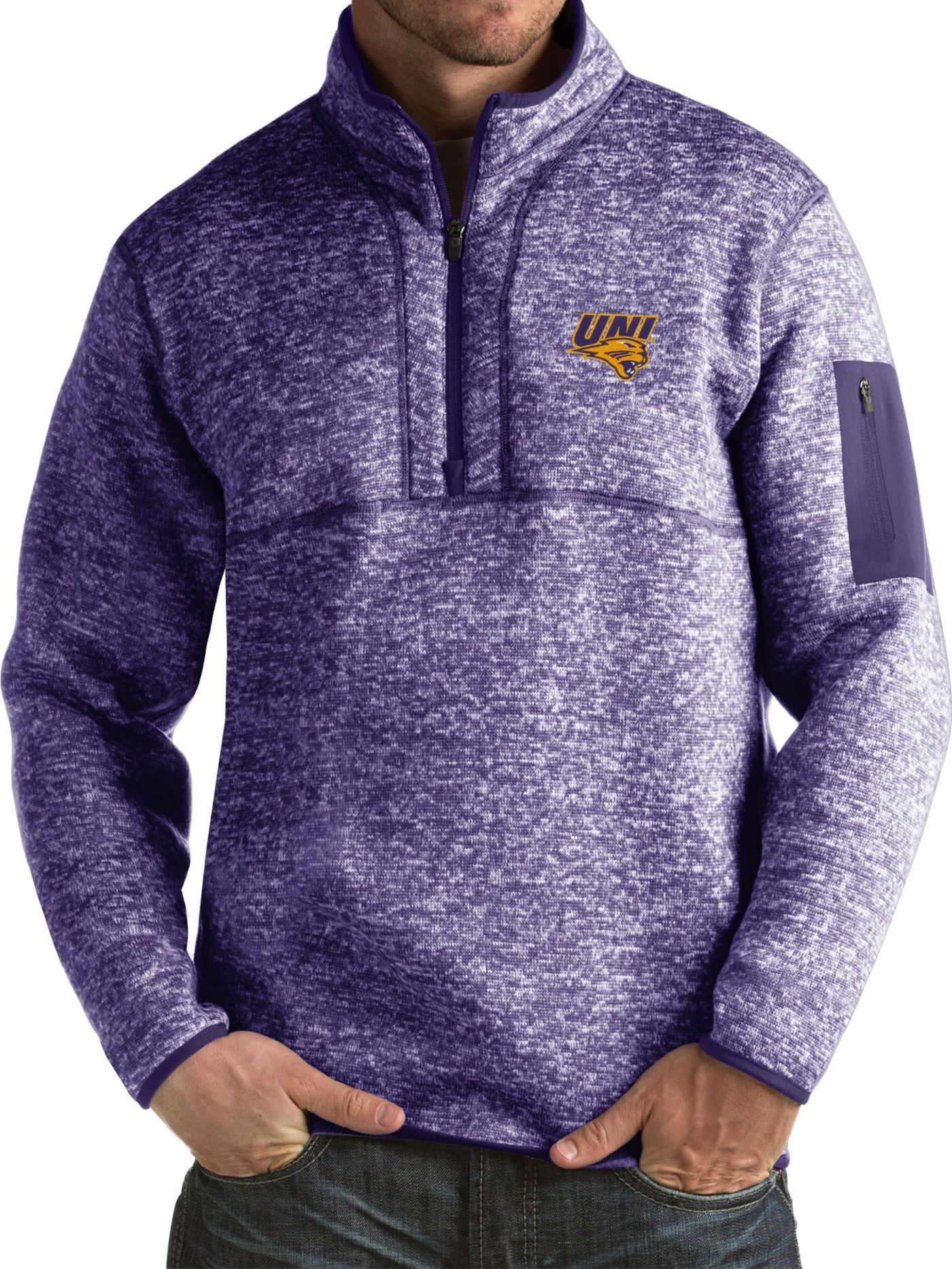 Antigua Men's Northern Iowa Panthers  Purple Fortune Pullover Jacket