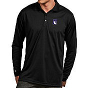 Antigua Men's Northwestern Wildcats Black Exceed Long Sleeve Polo
