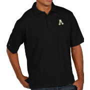 Antigua Men's Appalachian State Mountaineers Black Pique Xtra-Lite Polo