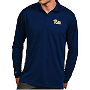 Antigua Men's Pitt Panthers Blue Exceed Long Sleeve Polo