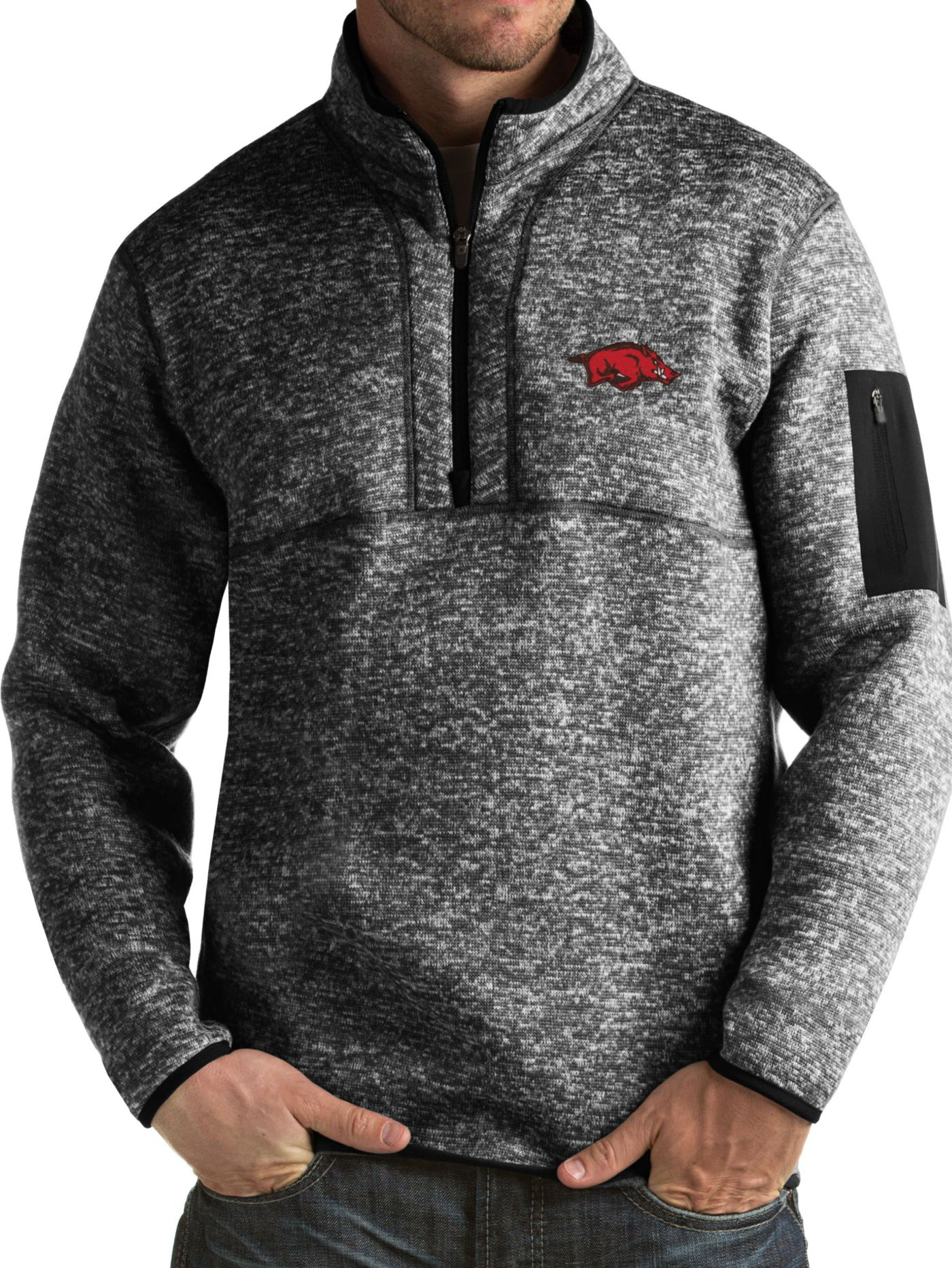 Antigua Men's Arkansas Razorbacks Black Fortune Pullover Jacket