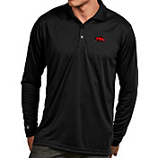 Antigua Men's Arkansas Razorbacks Black Exceed Long Sleeve Polo