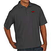 Antigua Men's Arkansas Razorbacks Grey Pique Xtra-Lite Polo