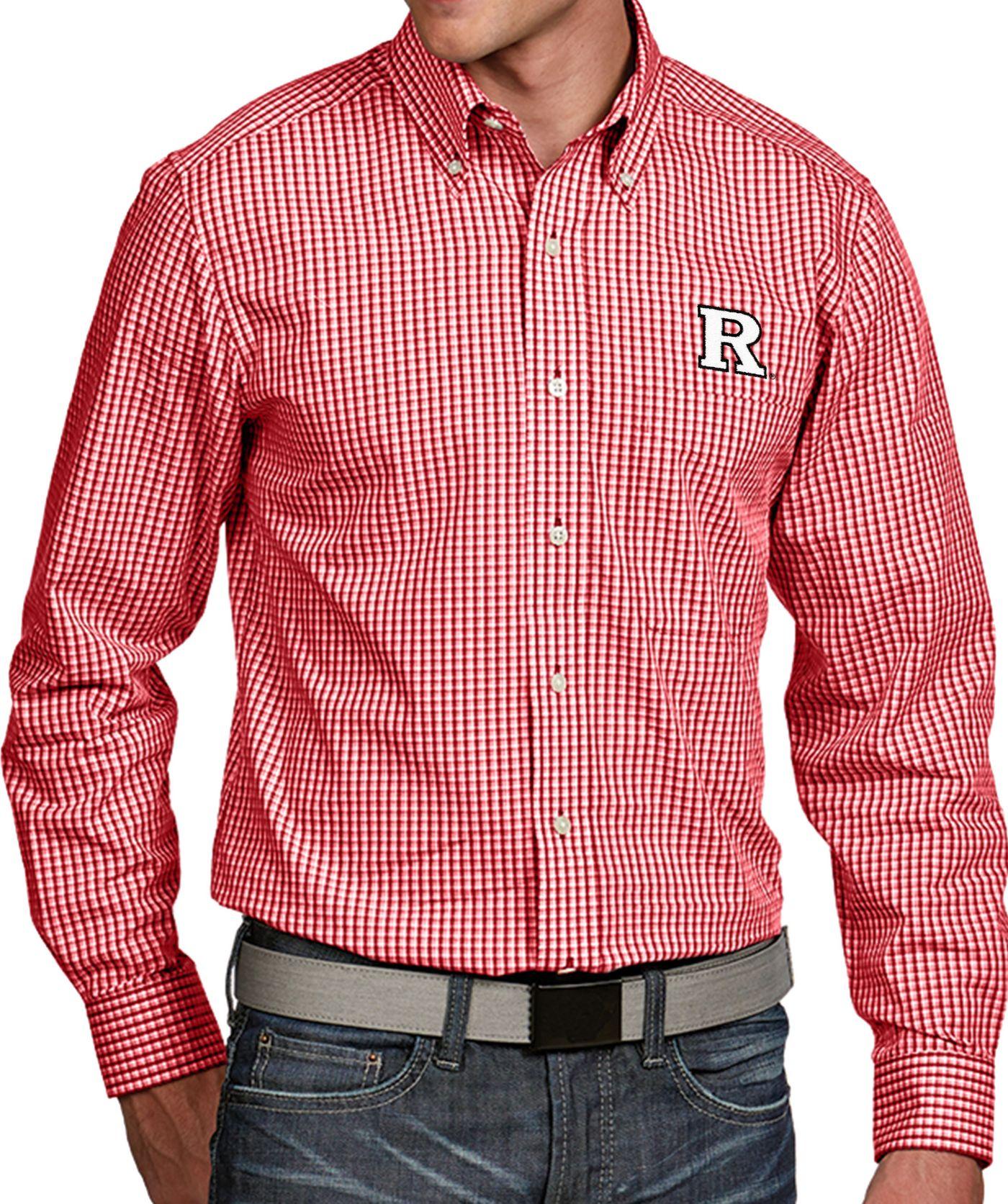 Antigua Men's Rutgers Scarlet Knights Scarlet Associate Button Down Long Sleeve Shirt