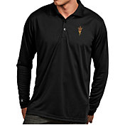 Antigua Men's Arizona State Sun Devils Black Exceed Long Sleeve Polo
