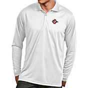 Antigua Men's San Diego State Aztecs White Exceed Long Sleeve Polo
