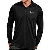 Antigua Men's South Florida Bulls Black Exceed Long Sleeve Polo
