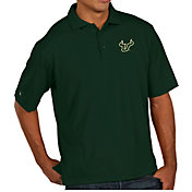 Antigua Men's South Florida Bulls Green Pique Xtra-Lite Polo