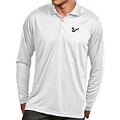 Antigua Men's South Florida Bulls White Exceed Long Sleeve Polo