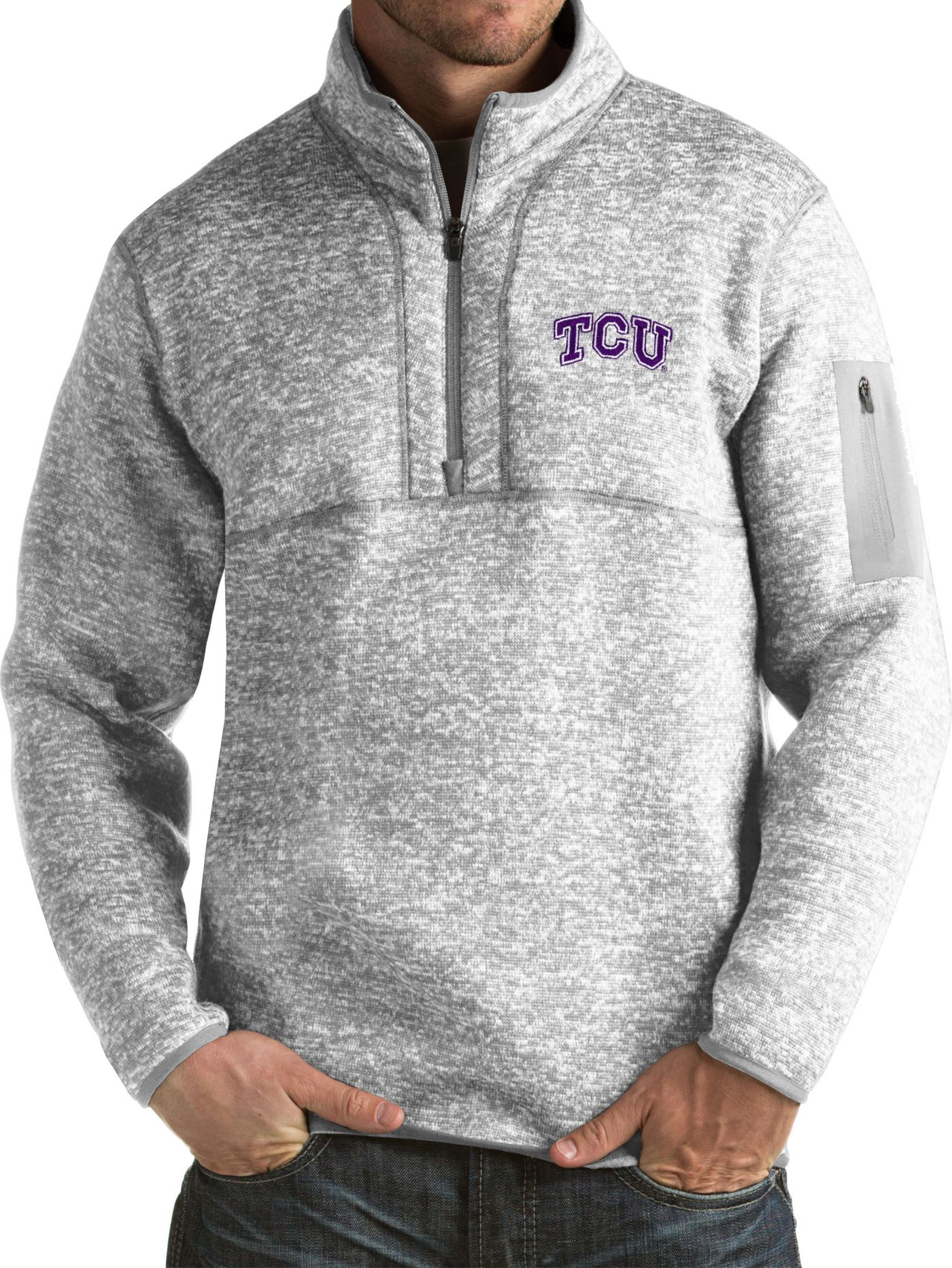 Antigua Men's TCU Horned Frogs Grey Fortune Pullover Jacket