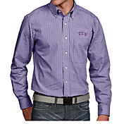 Antigua Men's TCU Horned Frogs Purple Associate Button Down Long Sleeve Shirt