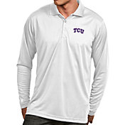 Antigua Men's TCU Horned Frogs White Exceed Long Sleeve Polo