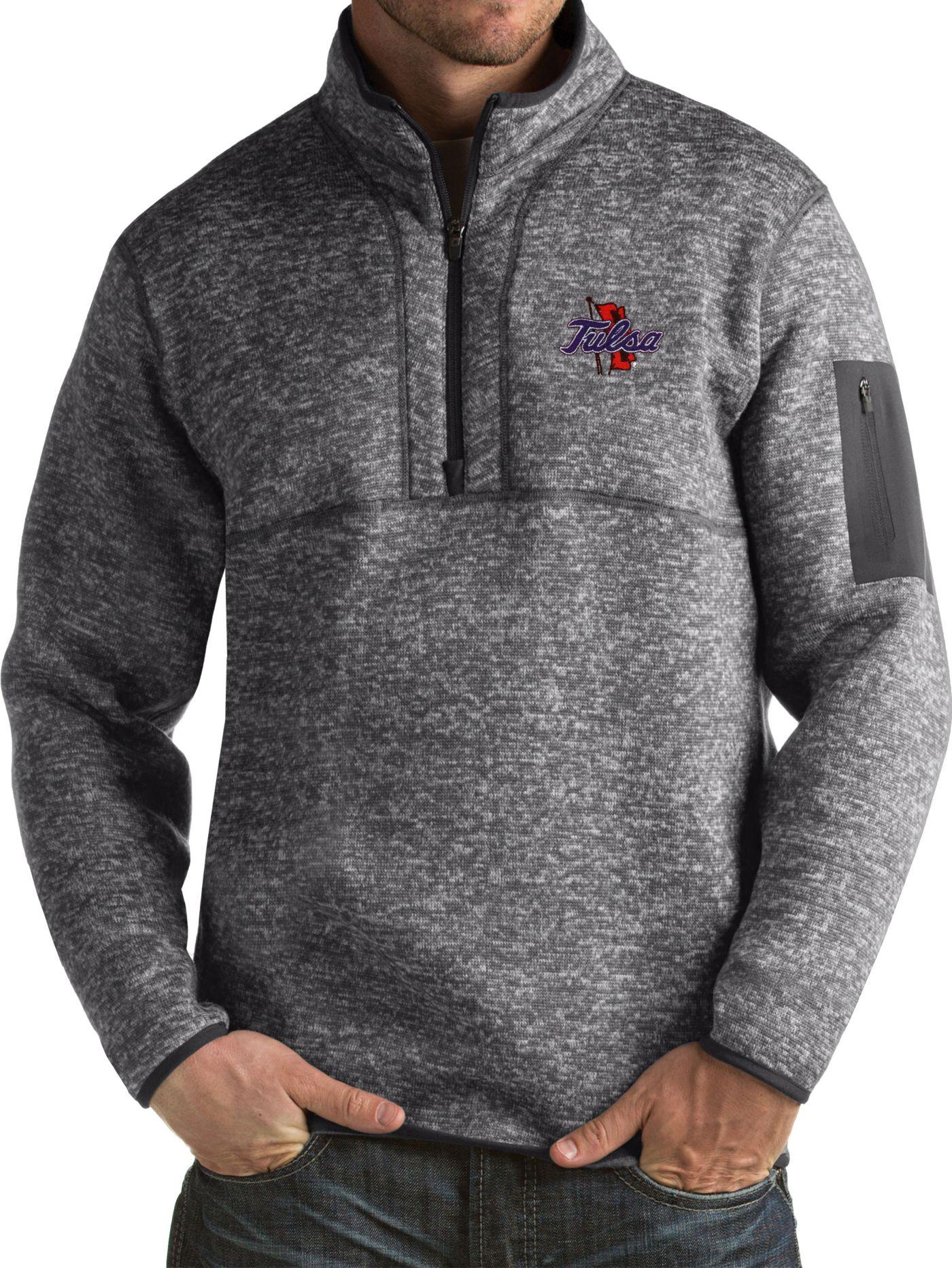 Antigua Men's Tulsa Golden Hurricane Grey Fortune Pullover Jacket