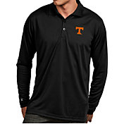 Antigua Men's Tennessee Volunteers Black Exceed Long Sleeve Polo