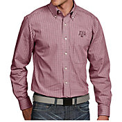 Antigua Men's Texas A&M Aggies Maroon Associate Button Down Long Sleeve Shirt