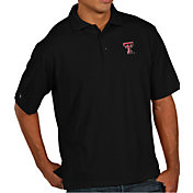 Antigua Men's Texas Tech Red Raiders Black Pique Xtra-Lite Polo