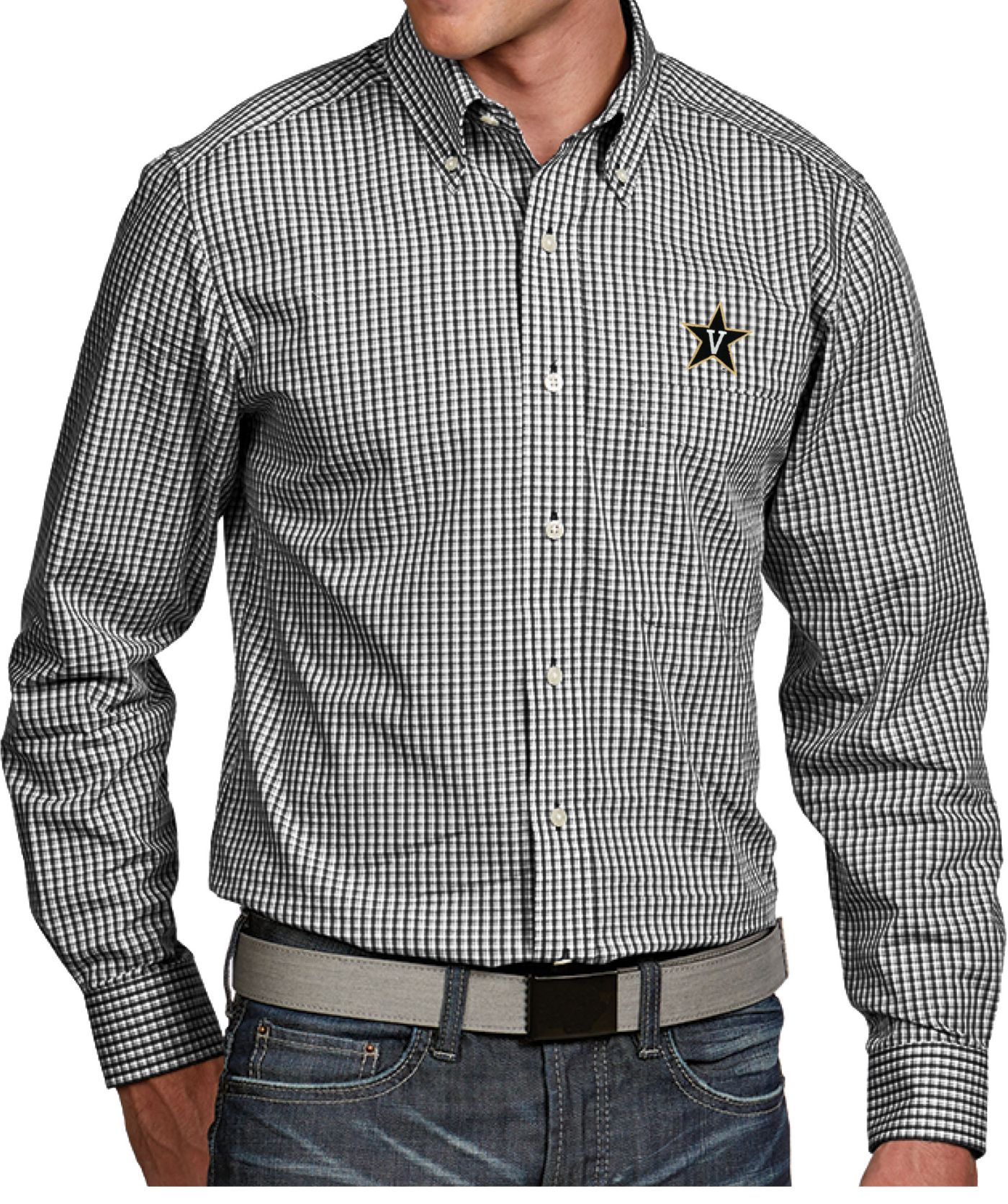 Antigua Men's Vanderbilt Commodores Black Associate Button Down Long Sleeve Shirt