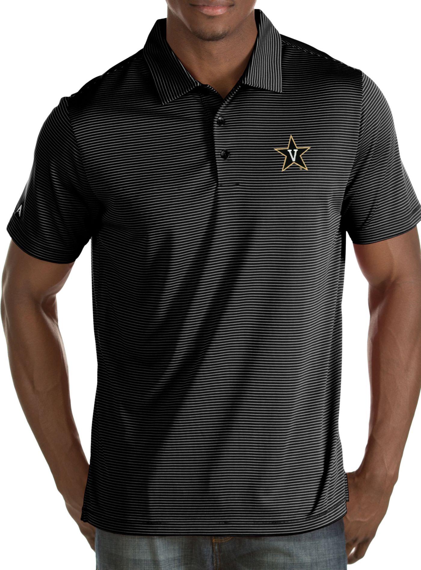 Antigua Men's Vanderbilt Commodores Black/White Quest Polo