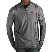 Antigua Men's Virginia Tech Hokies Grey Tempo Half-Zip Pullover