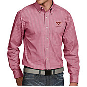 Antigua Men's Virginia Tech Hokies Maroon Associate Button Down Long Sleeve Shirt