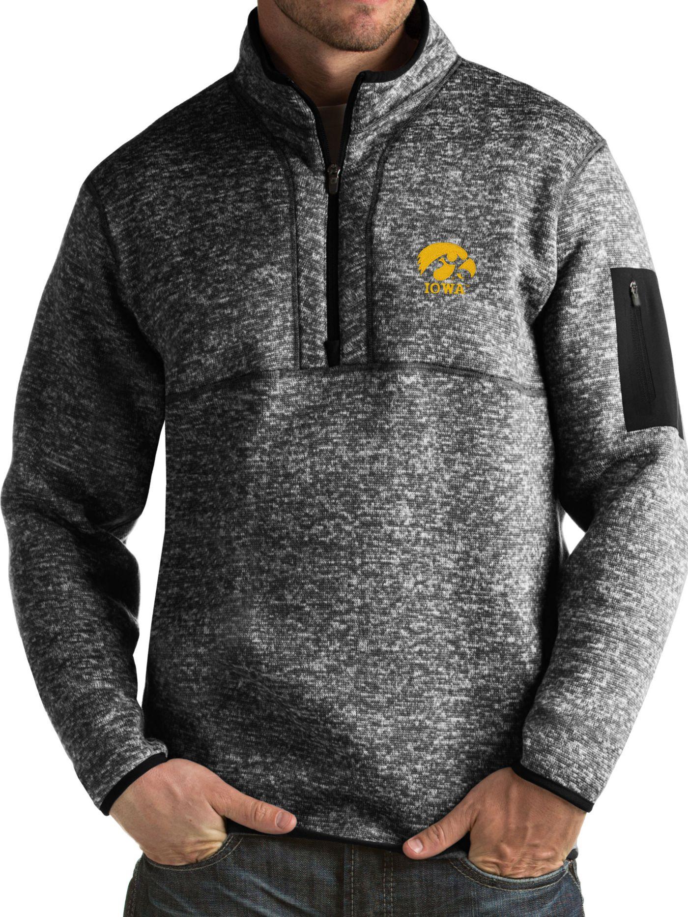 Antigua Men's Iowa Hawkeyes Black Fortune Pullover Jacket