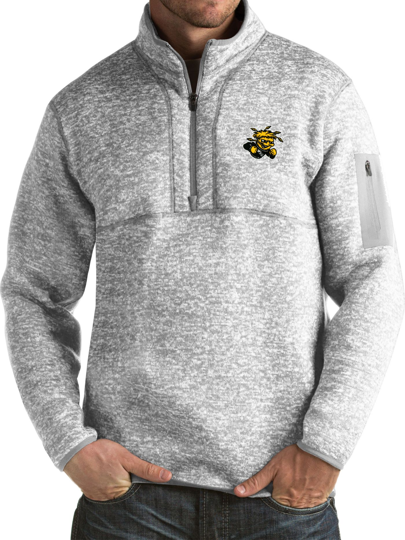 Antigua Men's Wichita State Shockers Grey Fortune Pullover Jacket