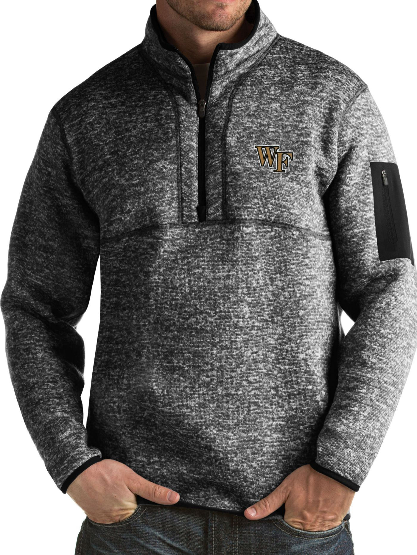Antigua Men's Wake Forest Demon Deacons Black Fortune Pullover Jacket