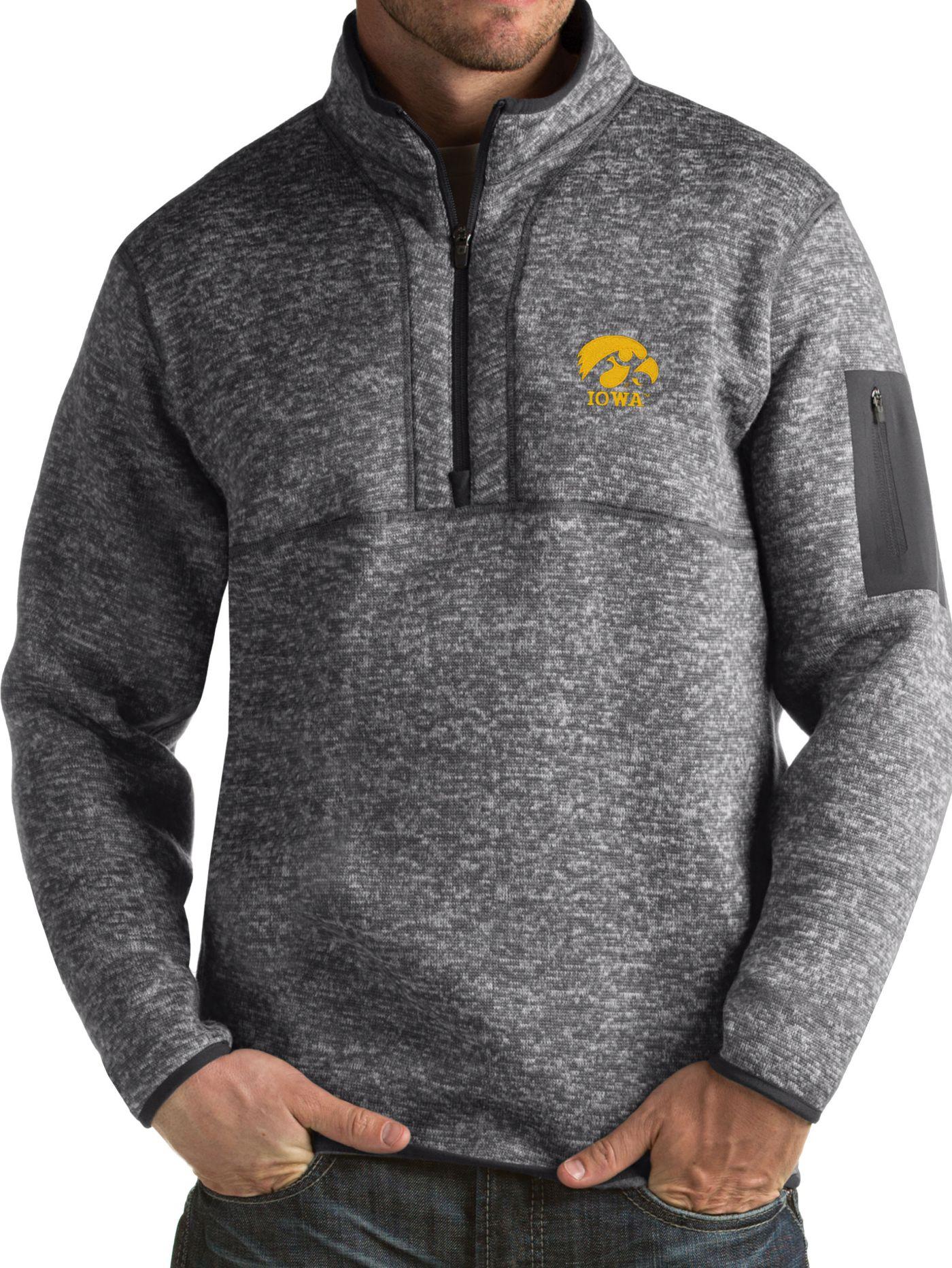 Antigua Men's Iowa Hawkeyes Grey Fortune Pullover Jacket