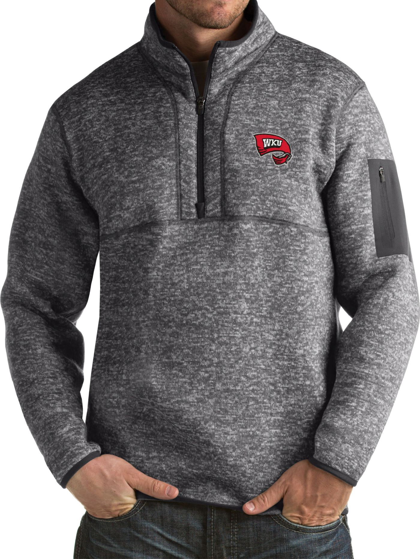 Antigua Men's Western Kentucky  Hilltoppers Grey Fortune Pullover Jacket