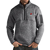 Antigua Men's Wisconsin Badgers Grey Fortune Pullover Jacket