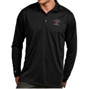 Antigua Men's Washington State Cougars Black Exceed Long Sleeve Polo
