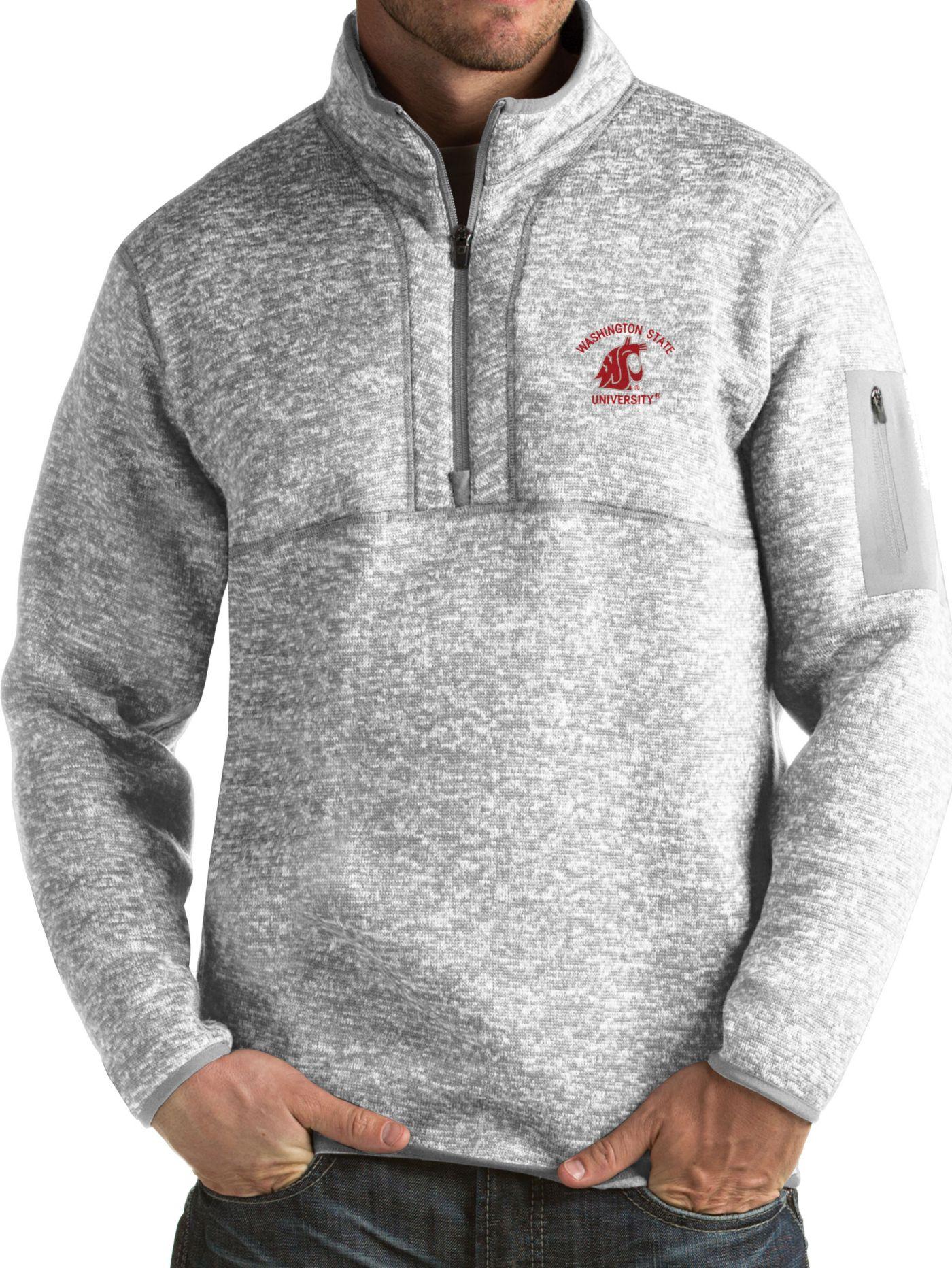Antigua Men's Washington State Cougars Grey Fortune Pullover Jacket