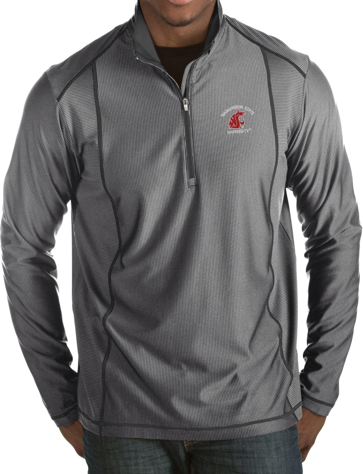 Antigua Men's Washington State Cougars Grey Tempo Half-Zip Pullover