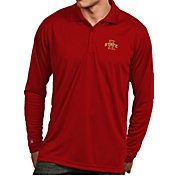 Antigua Men's Iowa State Cyclones Cardinal  Exceed Long Sleeve Polo