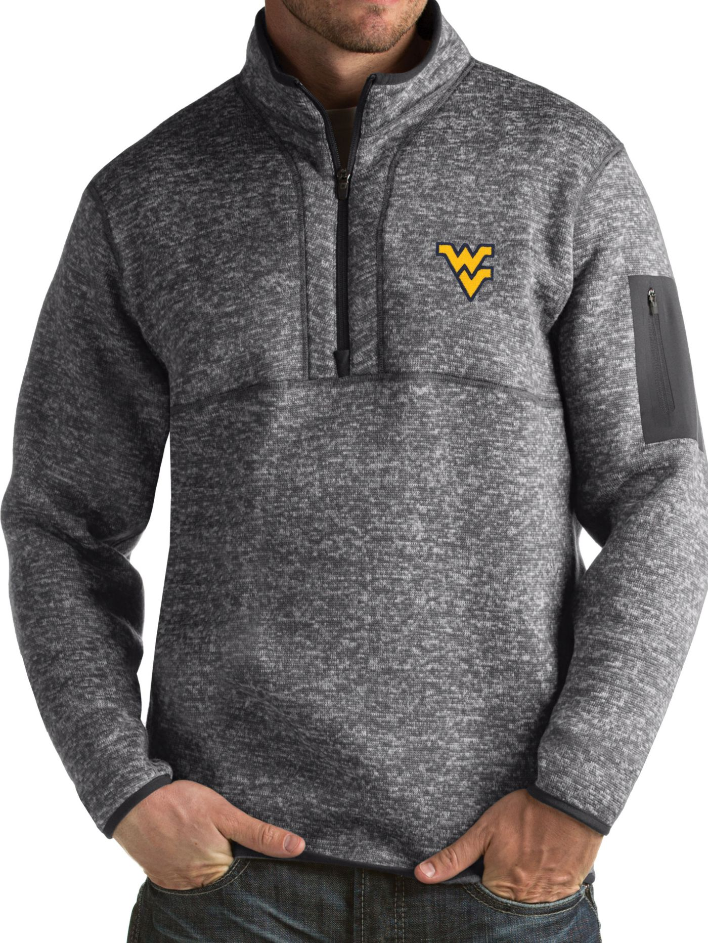 Antigua Men's West Virginia Mountaineers Grey Fortune Pullover Jacket