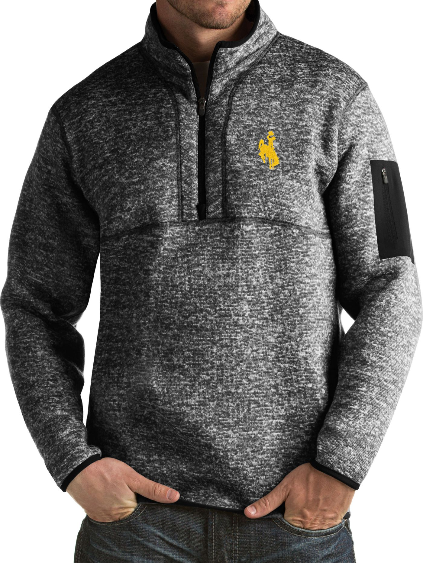 Antigua Men's Wyoming Cowboys Black Fortune Pullover Jacket