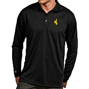 Antigua Men's Wyoming Cowboys Black Exceed Long Sleeve Polo