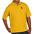 Antigua Men's Wyoming Cowboys Gold Pique Xtra-Lite Polo