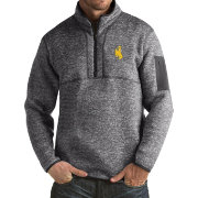 Antigua Men's Wyoming Cowboys Grey Fortune Pullover Jacket