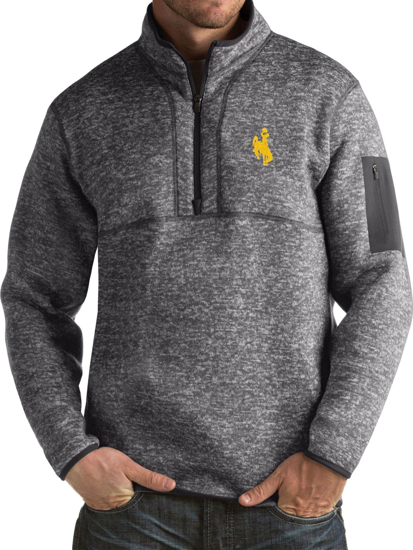 Antigua Men's Wyoming Cowboys Grey Fortune Pullover Jacket